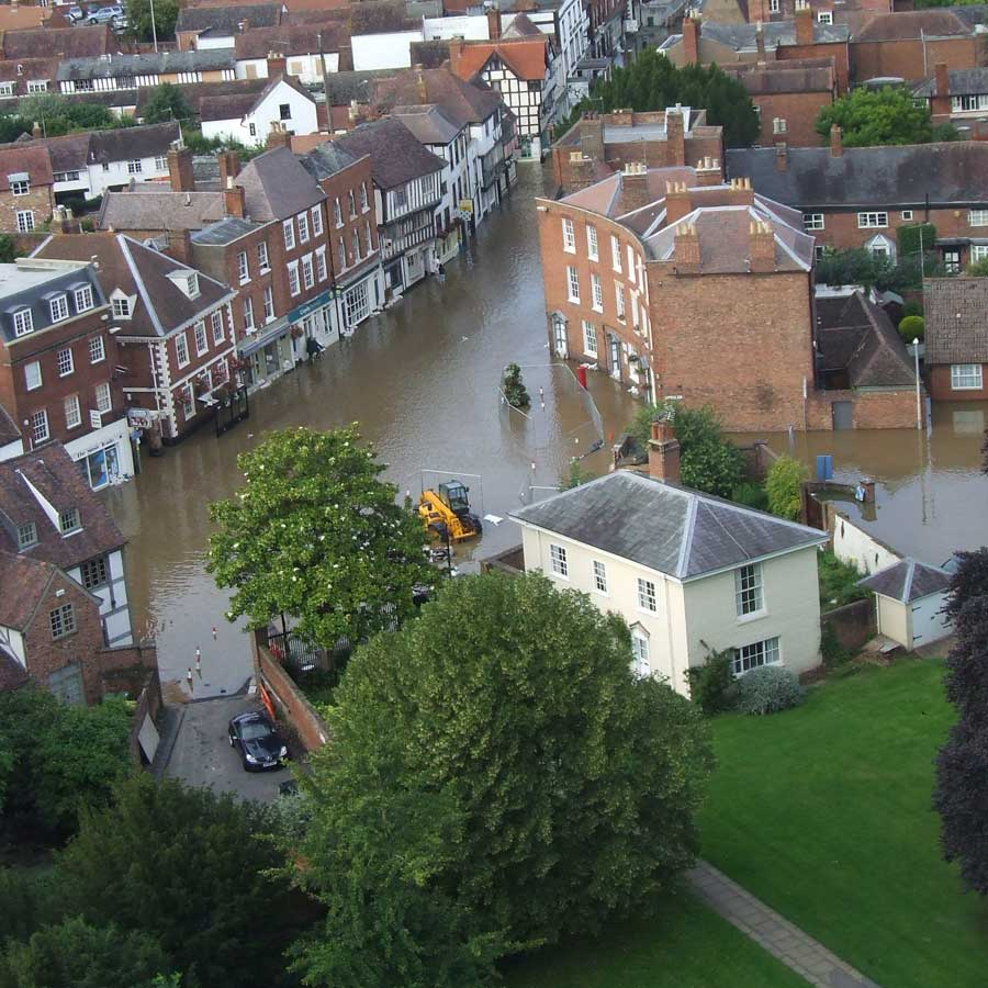 View From Abbey Tower, Tewkesbury 2007 Flood