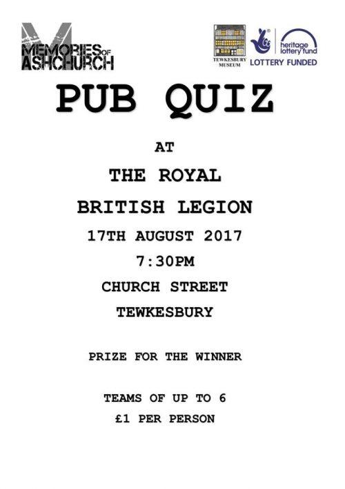 Memories of Ashchurch Pub Quiz